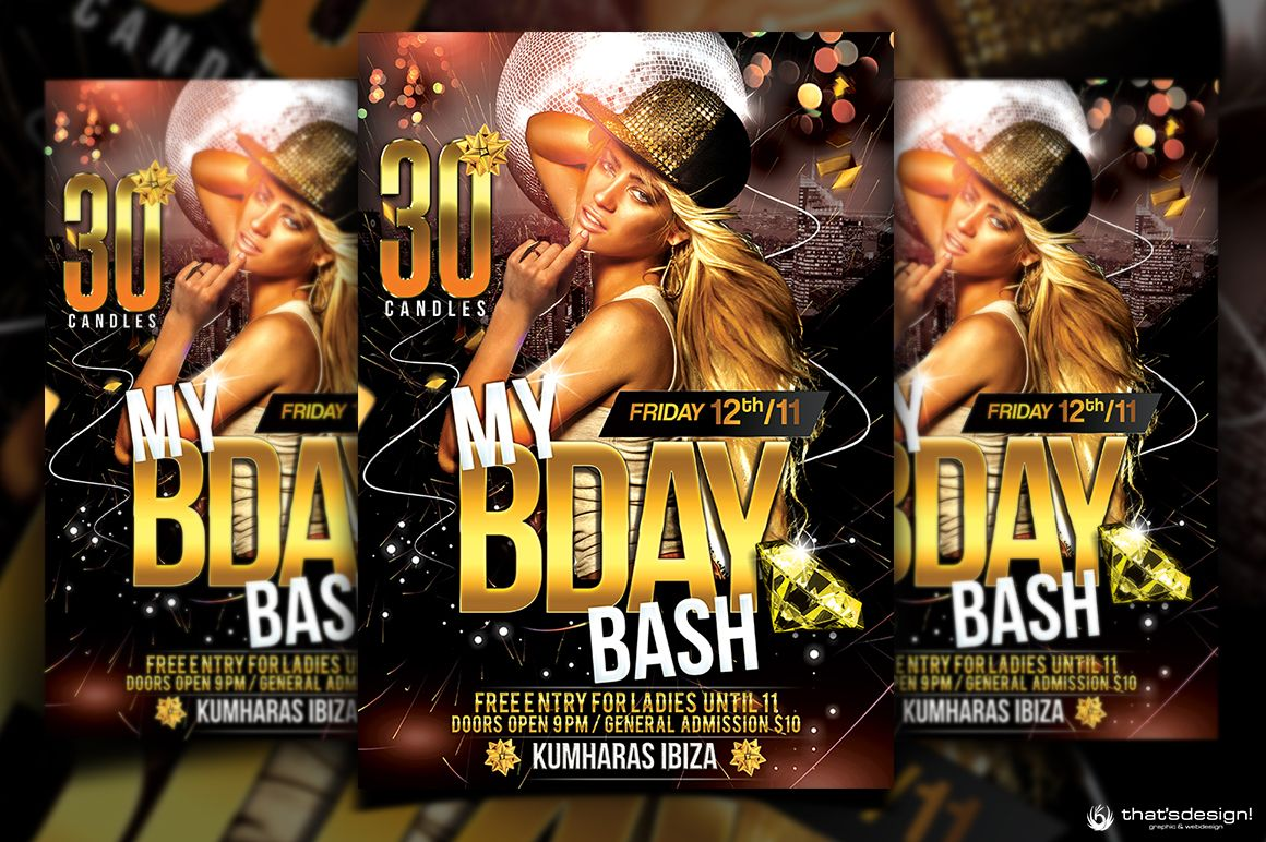 Birthday bash flyer template free posters design for