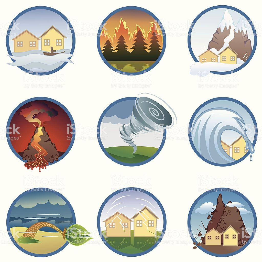 Collection Of Natural Catastrophes Vector Illustration