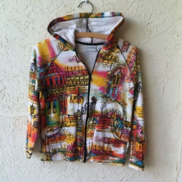 Chico's Paris Print Hoodie Chico's  Bright Colored Paris Hoodie. Gently used but like new. Relaxed fit Chico's Jackets & Coats