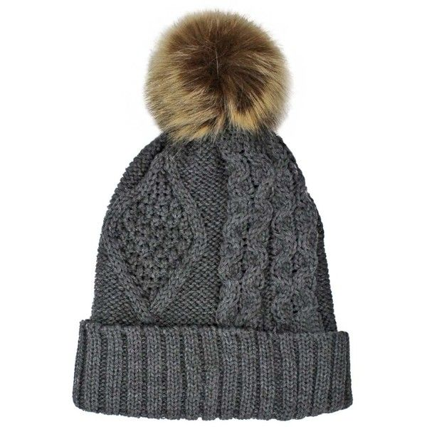 6536ad44590 Charcoal Gray Chunky Cable Knit Pom-Pom Hat With Fleece Lining ( 18 ...