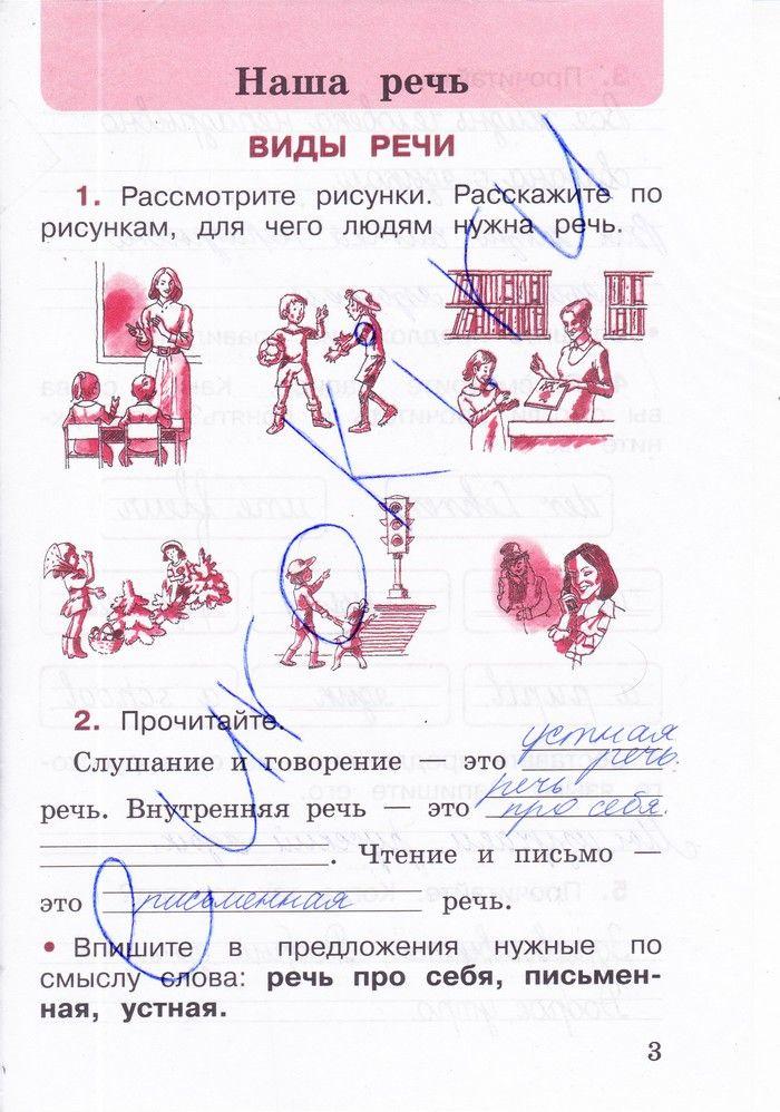 Решебник по русскому языку 2 класс рабочая тетрадь 1 класс часть канакина ответы