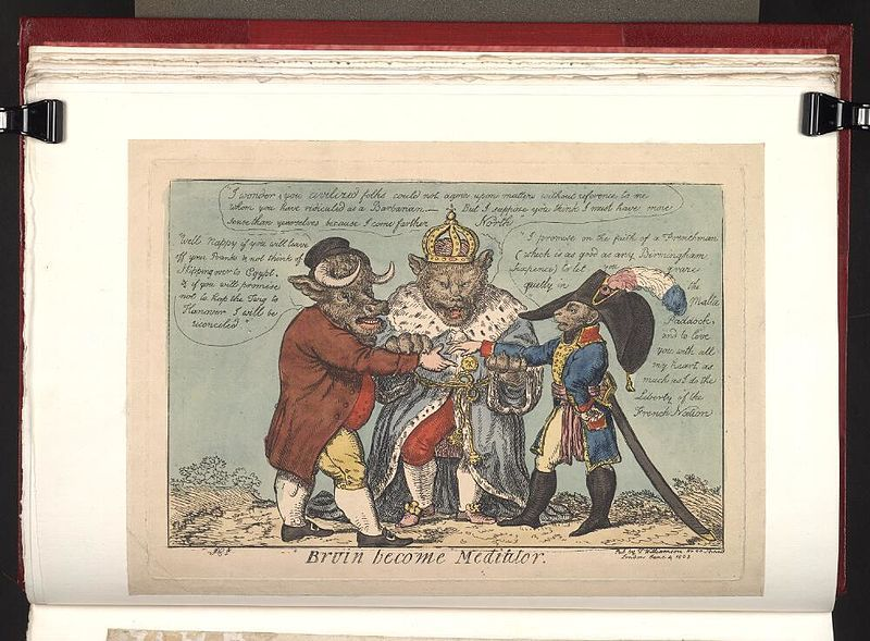 4 June 1803.Bodleian Libraries, Bruin become mediator.Satire on the Napoleonic wars.(British political cartoon);The Russian tsar,Alexander I,in the guise of a bear, joins the hands of John Bull (with a bull's head) and Napoleon (with a monkey's head).A reference to the issues drawing Britain and France back to war after the Treaty of Amiens (1802).