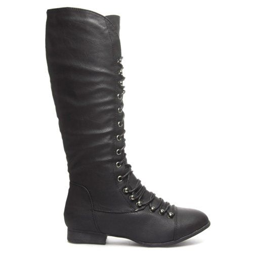 Top Moda LA-30 Women/'s Crocheted Low Heel Lace Up Mid-Calf Lace Combat Boots