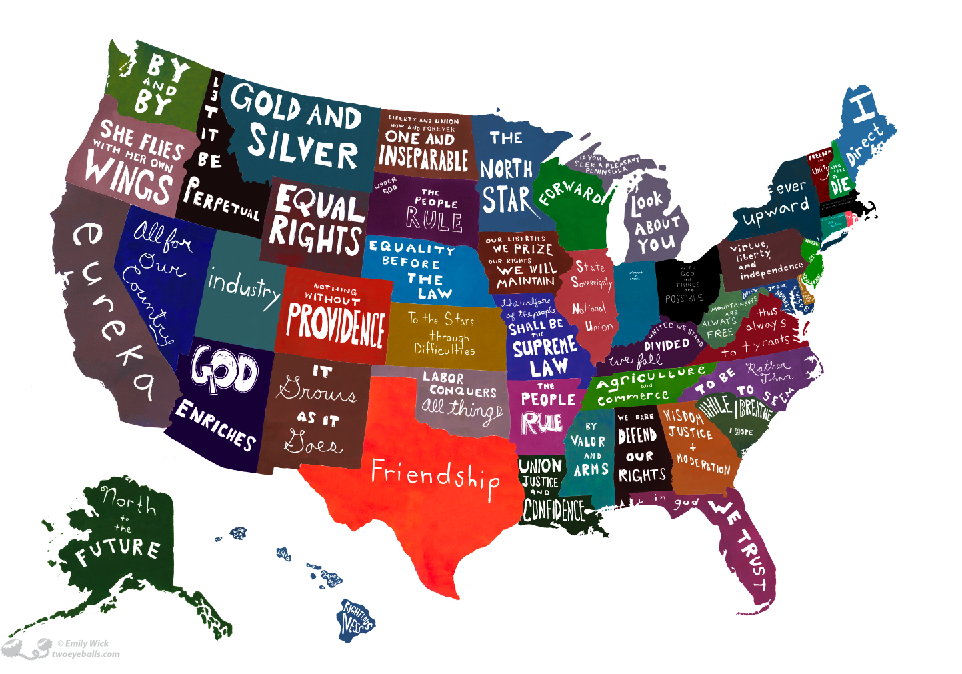 US State Motto Map Merican Maps Pinterest State Mottos - Weird maps of the us