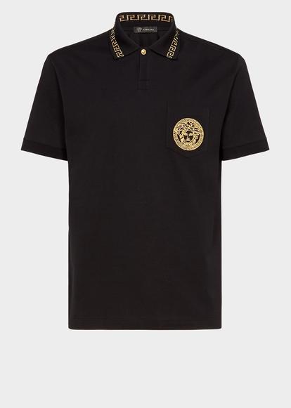 5a2981986b4 Embroidered Medusa Polo Shirt - Black T-shirts   Polos