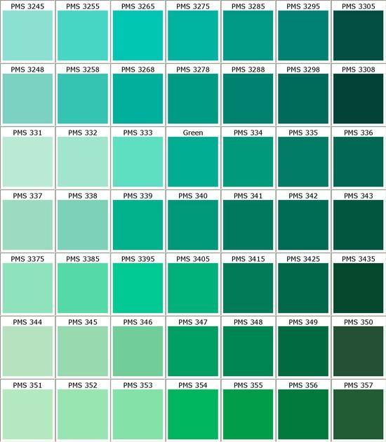Seafoam Color Moss Chart And