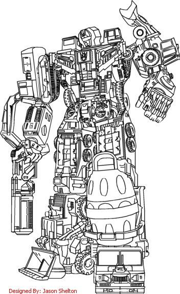 Transformers G1 Devastator Coloring Pages Transformers Coloring