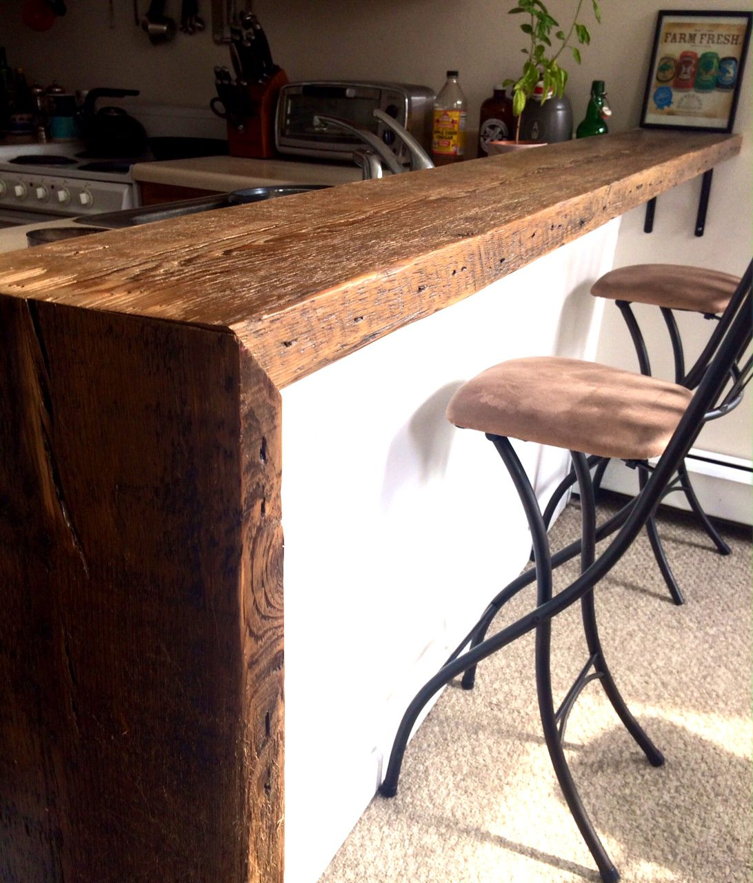 Reclaimed Barn Wood Breakfast Bar Black Wood Bar Stool Wood Bar Stools Wood Furniture Diy
