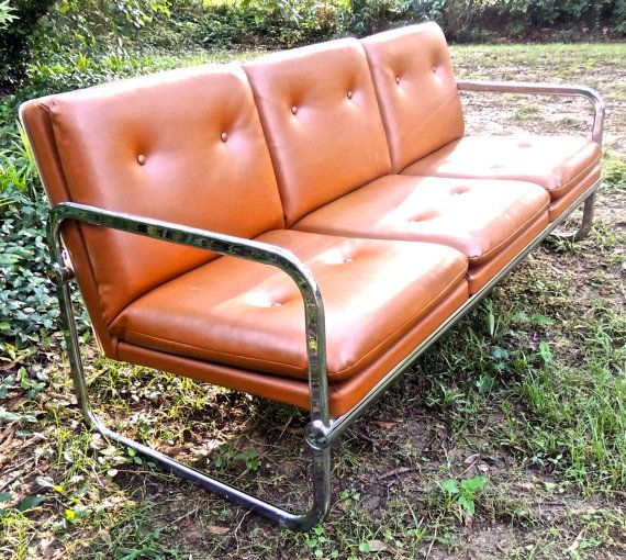 Vintage Chrome Sofa 1960s 70s Mid Century Tufted Brown Chrome Couch Sofa Milo Baughman Sofa Living Room Sets Furniture 70s Furniture