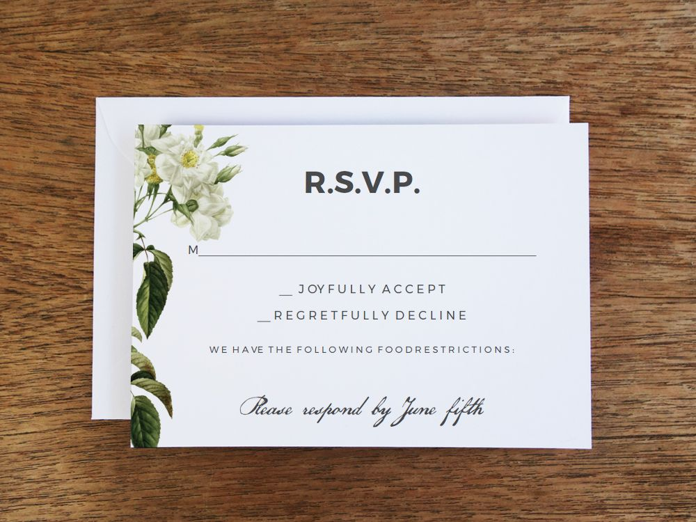 Printing your own RSVP cards is a breeze with this lovely