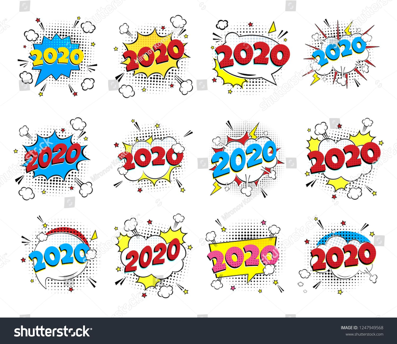 Christmas Comic 2020 2020 happy new year christmas comic pop art speech bubble set