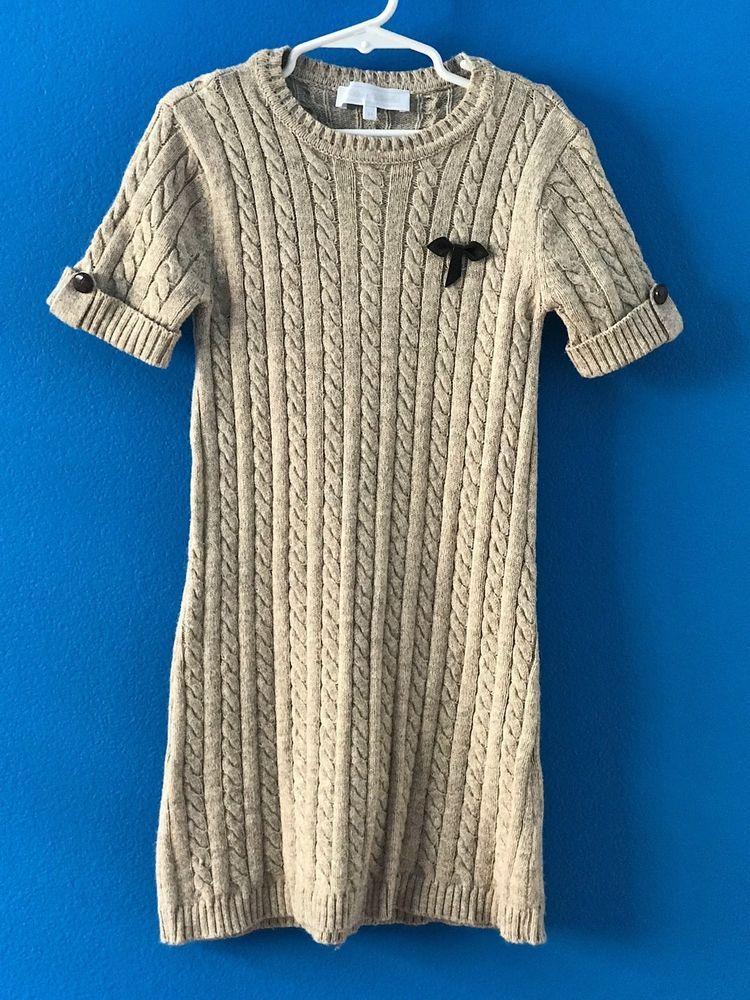 4529c91d210 TARTINE ET CHOCOLAT Tan Cable Knit Sweater Dress Size 8A 8   TartineetChocolat  SweaterDress