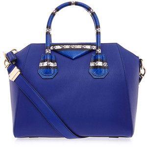 Detalle del bolso de Givenchy Antigona Pequeño azul de piel de serpiente