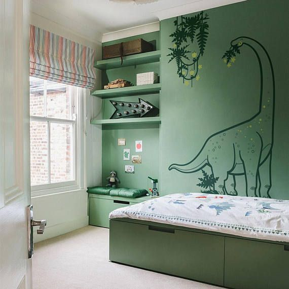 Dinosaur Wall Decals for Kids Room - Diplodocus and Liana - Large Boys Wall Stickers