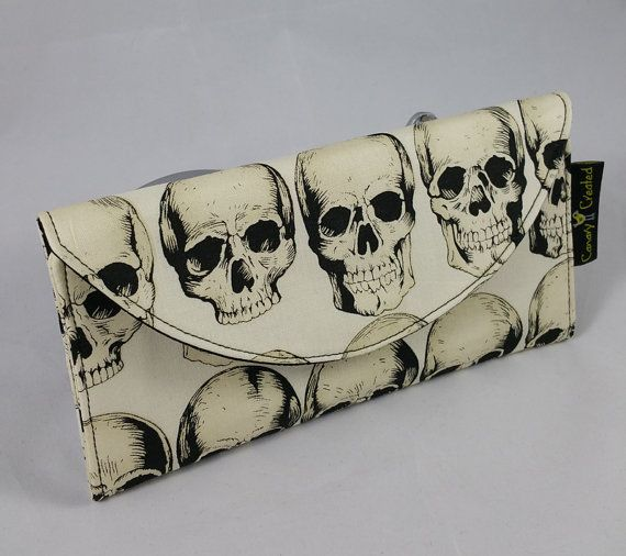 Rad Skulls in Natural Wallet by CanaryCreated on Etsy