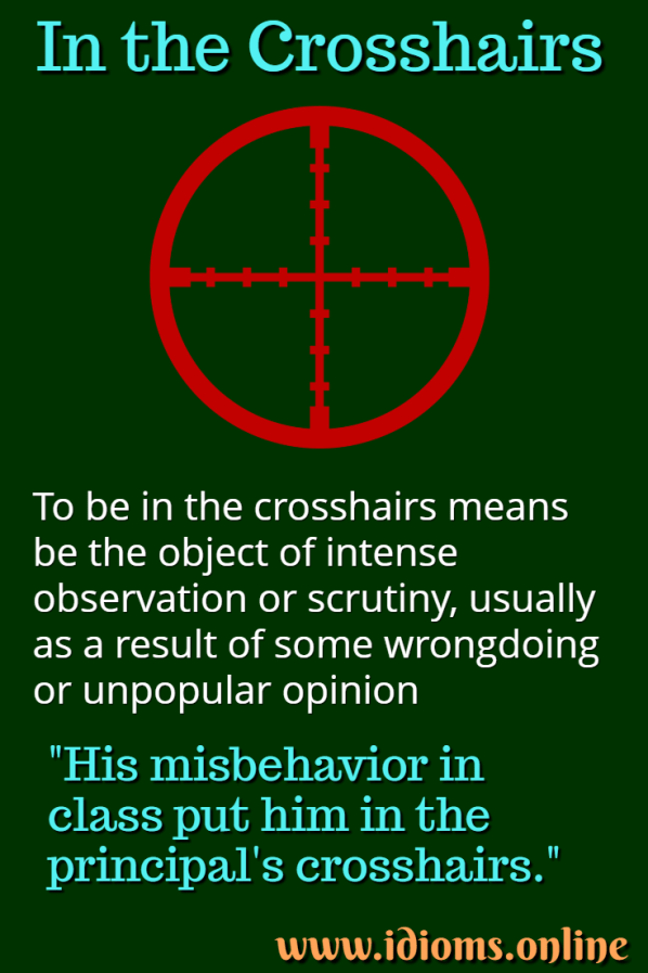 In The Crosshairs Idiom Meaning Idioms And Phrases Advanced English Vocabulary New Words