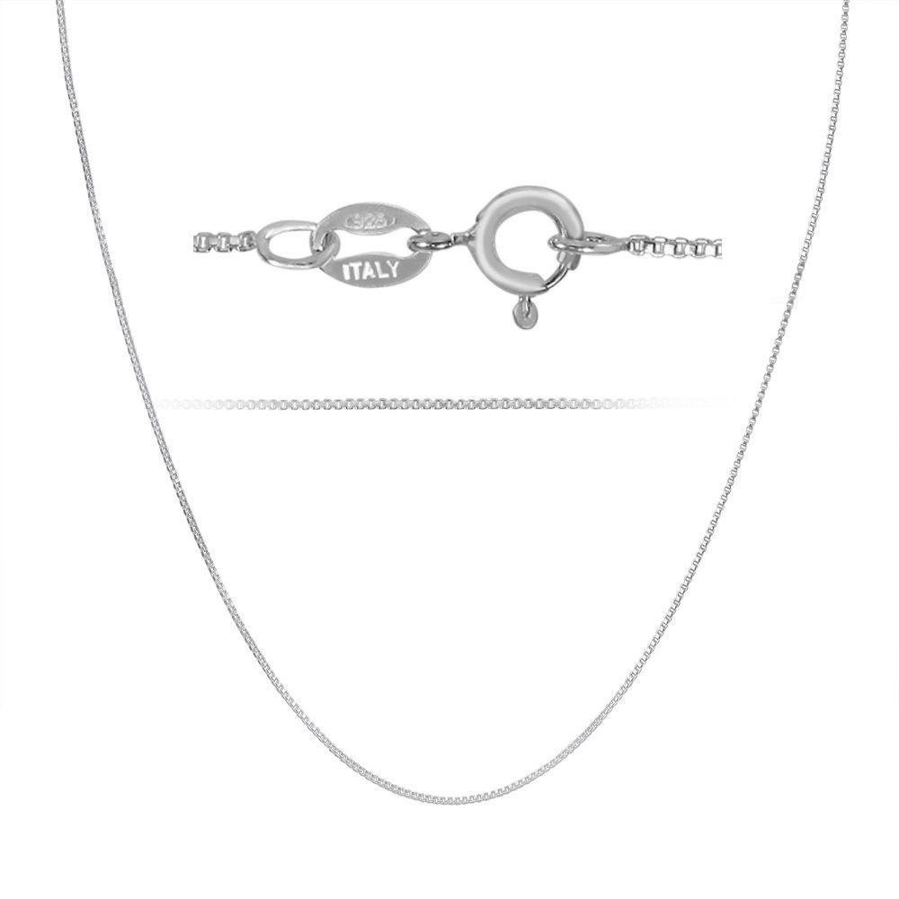 Sterling Silver Womens 1mm Box Chain Mini Lined Number Zero 0 Pendant Necklace