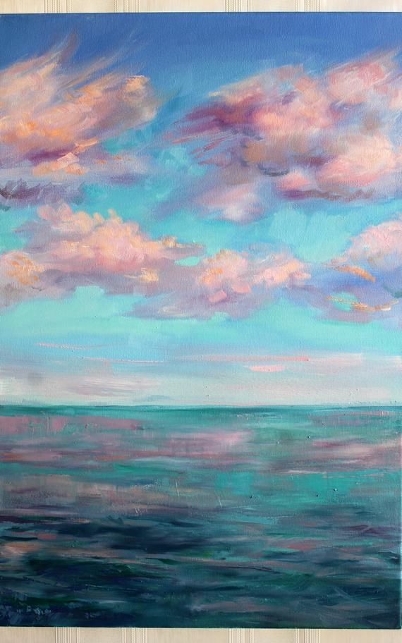 Set of 3 ORIGINAL oil painting Blue sky Soft pink clouds Sky and sea Wall art gift Sunset bright artwork Gift painting home Canvas Landscape