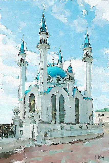 Qolsharif Mosque Watercolor Paintings Easy Watercolor