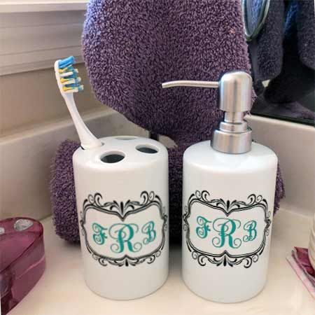 monogrammed bathroom monogrammed tooth brush holder and liquid soap dispenser