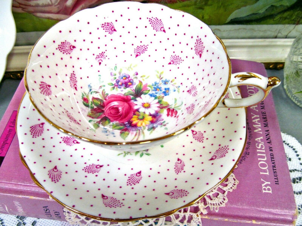 PARAGON tea cup and saucer pink rose and feathers teacup pattern floral cup