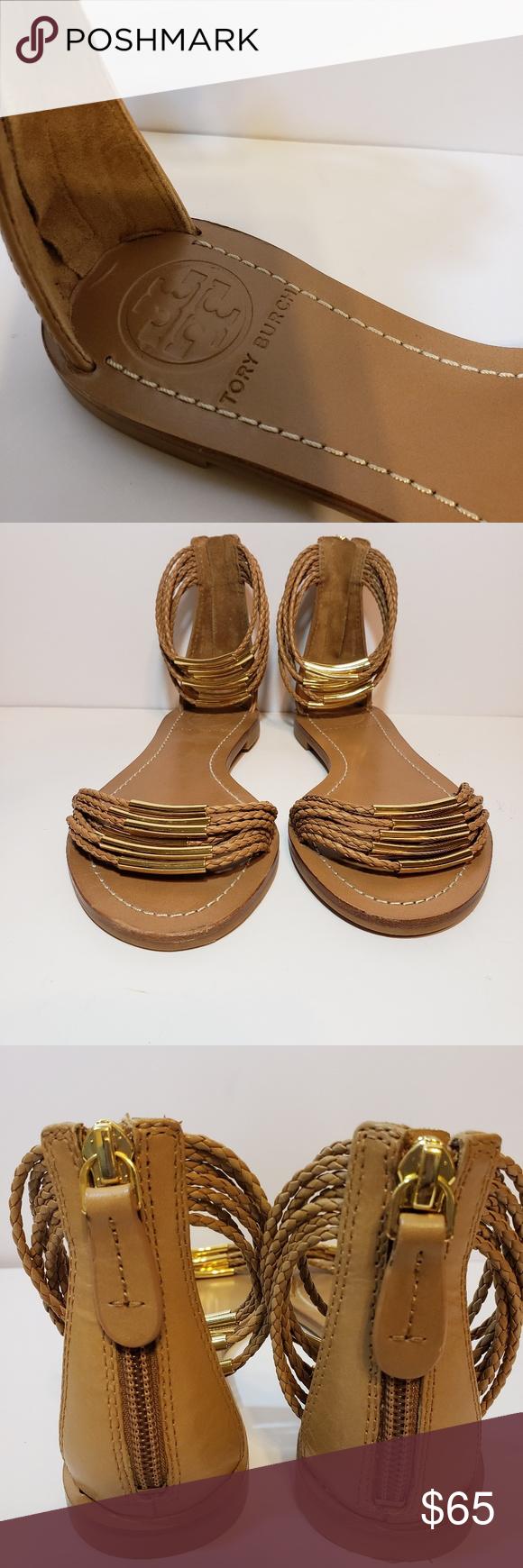 8293c6f21234 Tory Burch Mignon Tan Braided Strappy Sandals 5M Tory Burch Mignon braided  strappy flat sandals