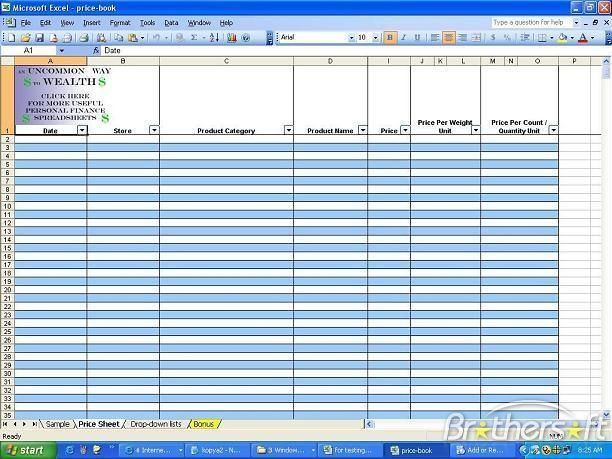 Book Inventory Template Free Grocery Price Spreadsheet Downloads