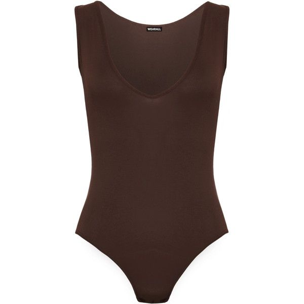 WearAll Basic V-Neck Sleeveless Plunge Bodysuit (€10) ❤ liked on Polyvore  featuring tops a304dafa1394