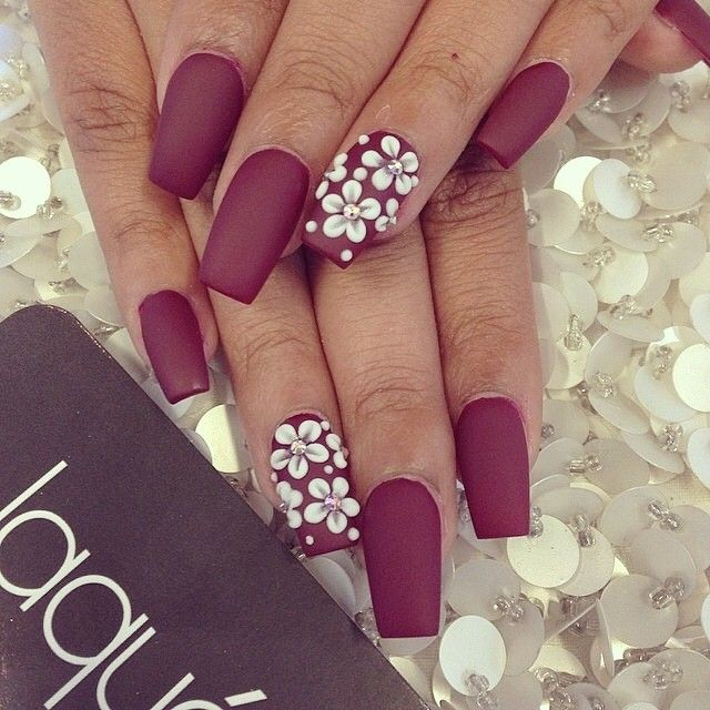 matte burgundy / dark red nails with white floral accent nailart ...