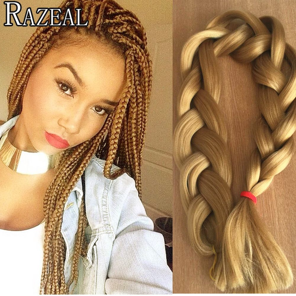 Hair Braids Jumbo Braids Razeal 24 Inch 100g Ombre Jumbo Braids 5 Pcs Synthetic Brading Hair Extensions Crochet Hair High Temperature Fiber