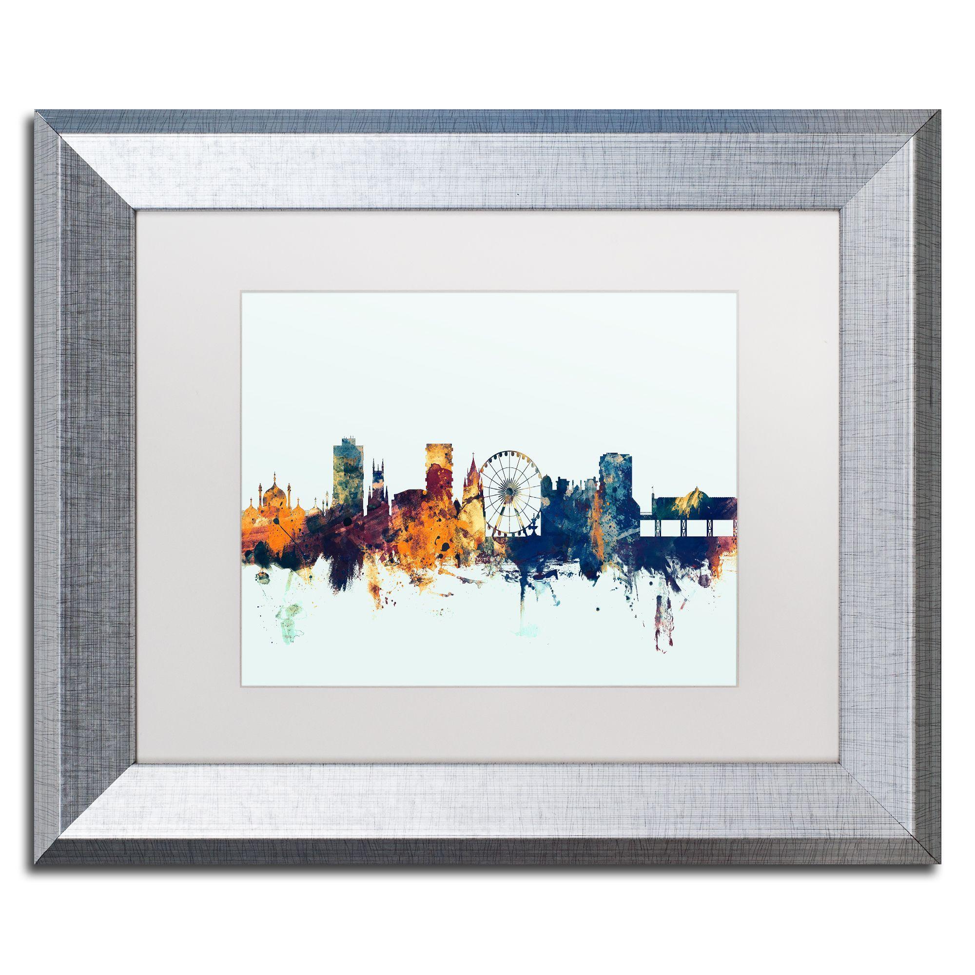 Michael Tompsett 'Brighton England Skyline Blue' Matted Framed Art