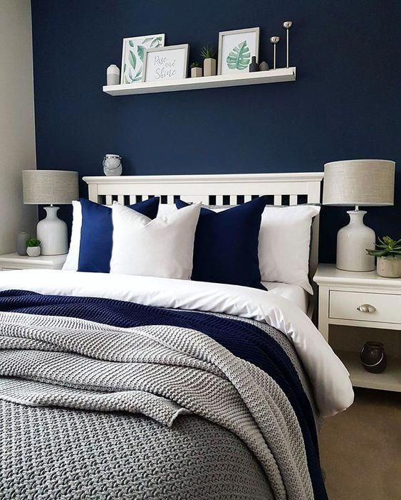 50 Sleigh Bed Inspirations For A Cozy Modern Bedroom: A Cozy Bedroom Done In Navy, White And Greys Looks