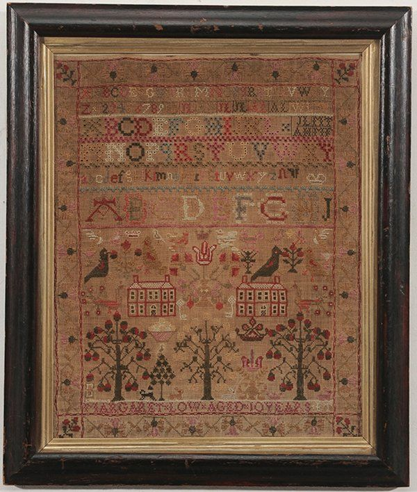 "House Sampler probably British, early 19th century, six rows of letters over a pair of houses, various animal and plant motifs throughout, stitched bottom, ""Margaret Low Aged 10 Years"", wool on linen, 16-1/2 x 13-1/4 in."