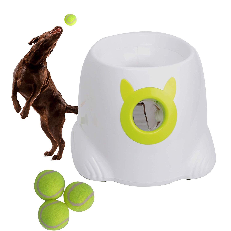 Luckyermore Automatic Dog Ball Launcher Review Dog Training Advice Tips Dog Ball Dog Ball Launcher Ball Launcher
