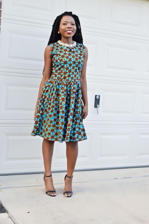 Ankara Blue Party Dress, African Dress Blue Wax Print, Handmade ...