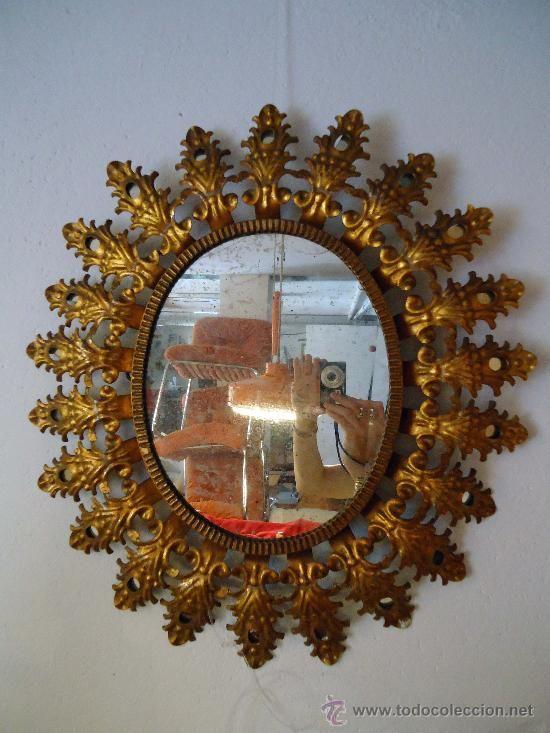 Espejo con forma de sol marco con peque os espejos for Espejos decorativos con forma de sol