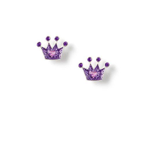 Glitter Crown Stud Earrings $3