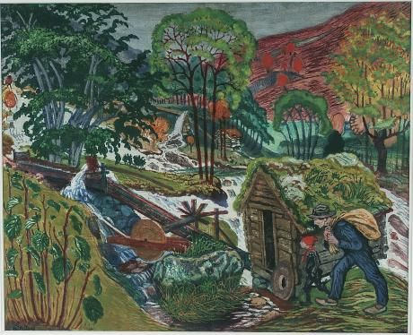 Nikolai Astrup (1880-1928): Running Millwater, undated, color woodcut