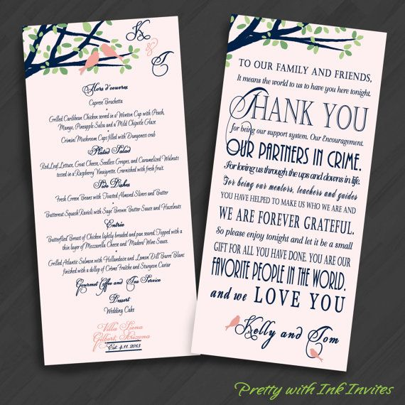 Thank You Verse Napkin Cards Optional Menu Back for Weddings/Special