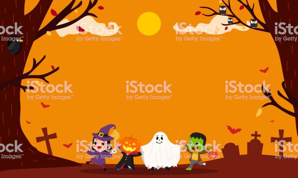 Full Moon Pattern On Orange Halloween Background Vector Free