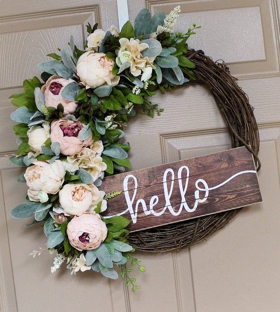 Photo of Front Door Wreaths, Spring Wreath, Hello Sign, Peony, Home Decor, Grapevine Wreath, Shabby Chic, Best Selling, Etsy Wreaths, New, Rustic