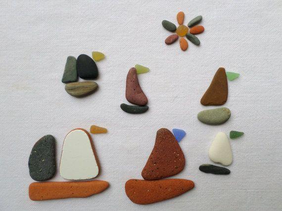 Galets, poterie , verre de mer polis et plats . Lot de 27pcs  idéal pour créer des tableaux  minéral ,bateaux ou autres.