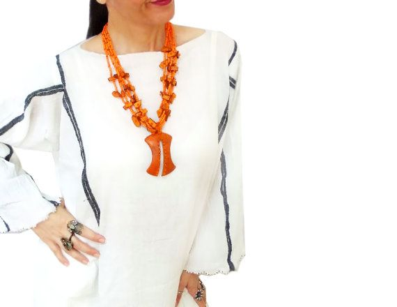 Orange beaded dangle necklace Indian style Boho by CatsAndSheeps