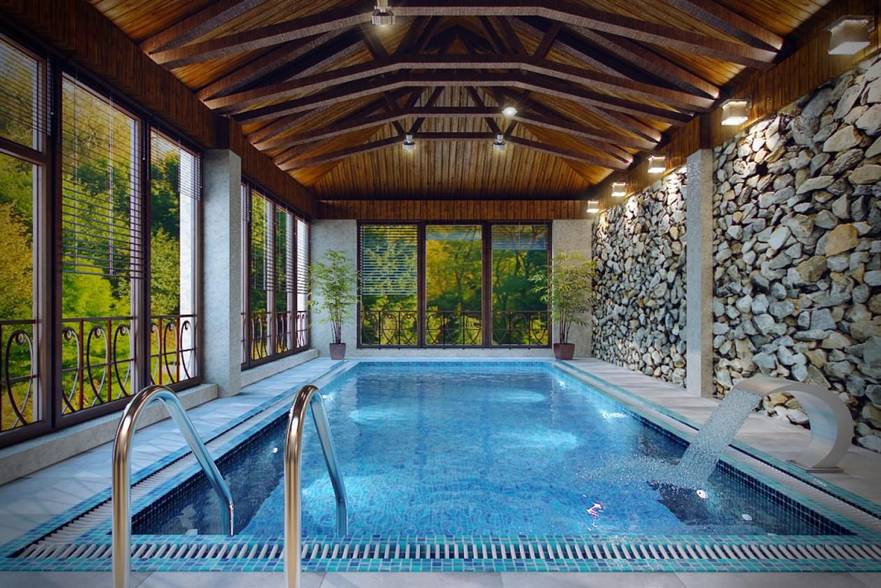 Foyer de pierre int rieur indoor stone wall interior design interior grey river rock - Indoor swimming pool design ...