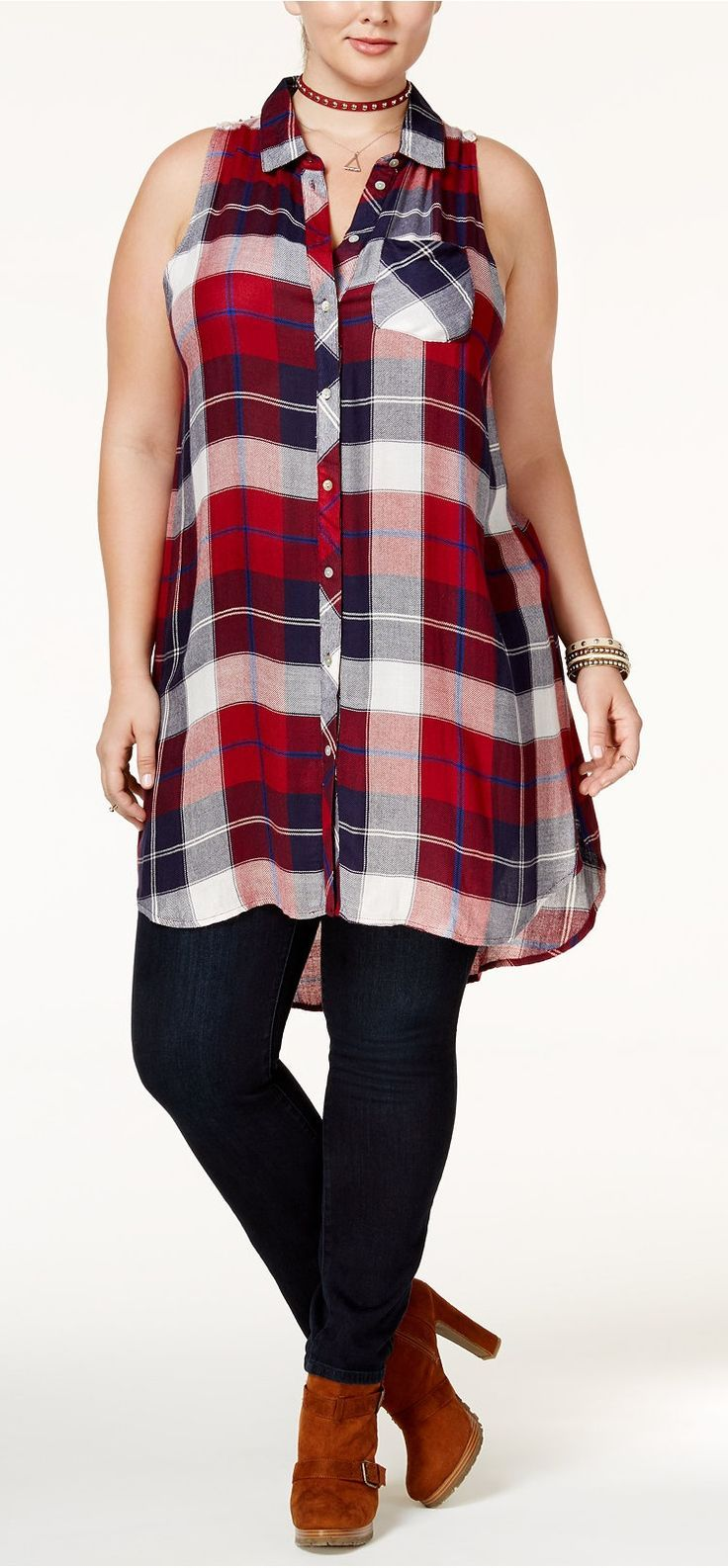 american rag trendy plus size plaid tunic, only at macy's   plus