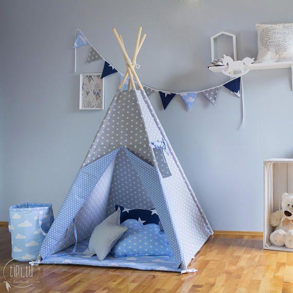 Teepee Grey And Blue Tipi Children S Teepee Playtent Zelt Wigwam Tent Kids Teepee High Quality Teepee Azul Cabana Deco