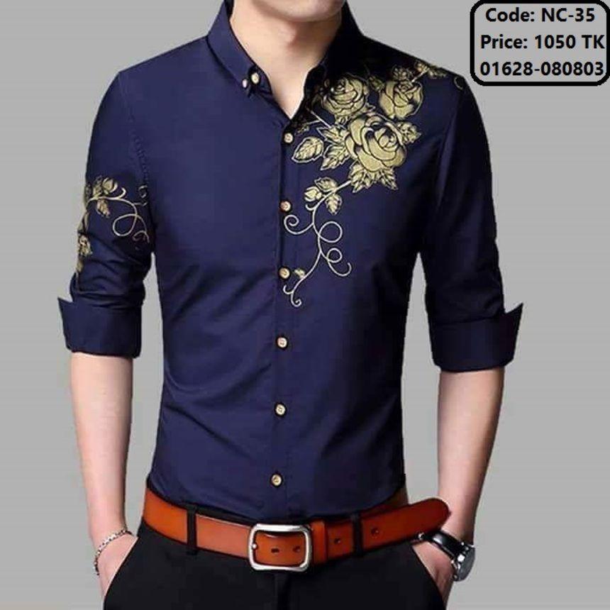 21d44f0092 Korean fashion Casual Slim Men s shirt Long sleeve Turn-down collar Printed  dress shirt men 4 colors plus size men clothing 2017