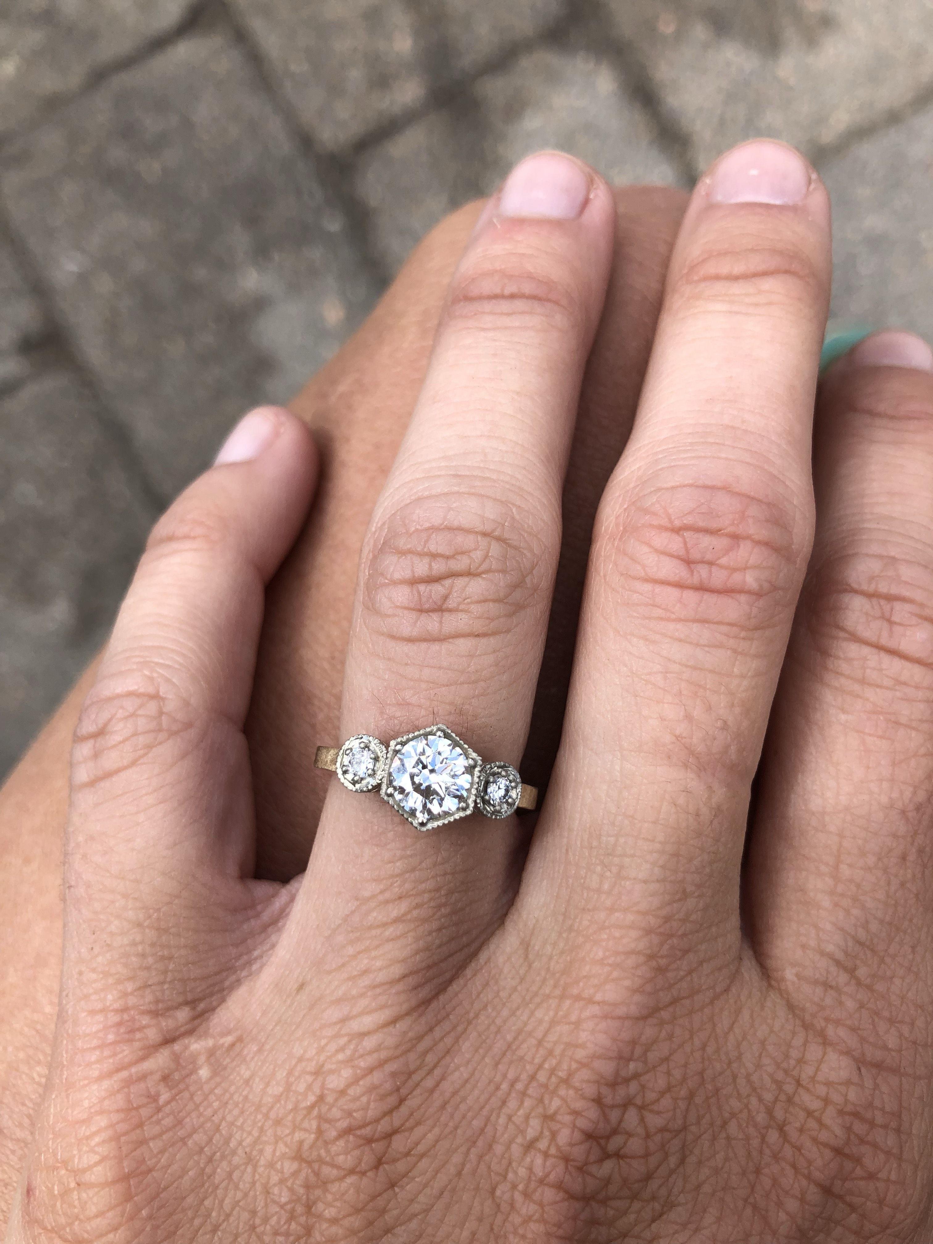 Hexagon Diamond Three Stone Ring Custom Engagement Rings Wedding Rings Unique Wedding Rings Vintage Vintage Engagement Rings