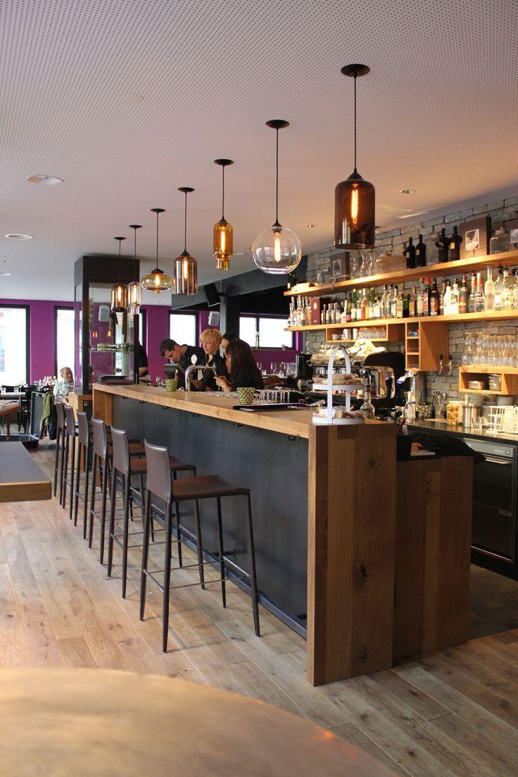 bar noir et bois   Intérieur de restaurant, Bar maison moderne ...