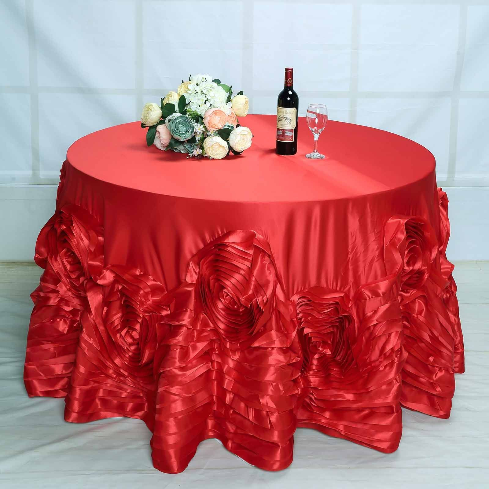 120 Red Large Rosette Round Lamour Satin Tablecloth Table Cloth